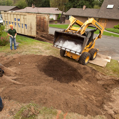 Filling the basin for the garden area