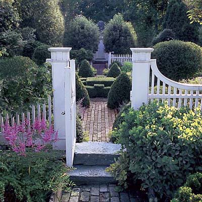gate and brick pathway in Litchfield, Connecticut, garden
