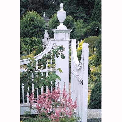 urn finials and curved gates in Litchfield, Connecticut, garden