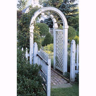 climbing roses on arched arbor in Litchfield, Connecticut, garden