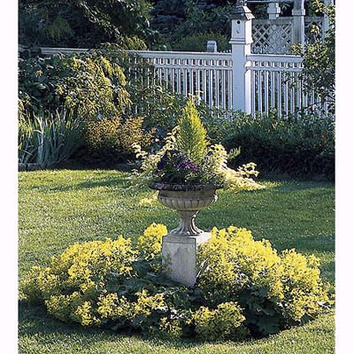plant-filled urn in Litchfield, Connecticut, garden
