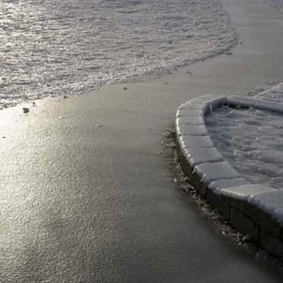 A footpath glazed with ice