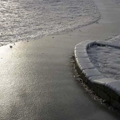 A footpath glazed with ice