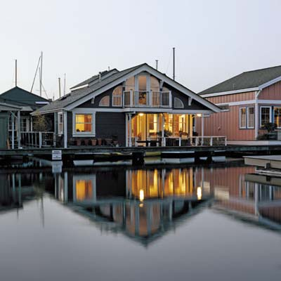 exterior of the renovated houseboat on Seattle's Lake Union
