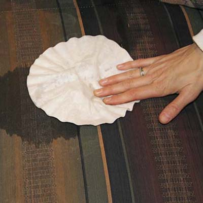 Absorb Spills on Upholstery with coffee filters