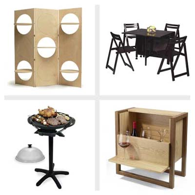 flipper screen, folding dinette, mini bar side table, wall-mounted wine racks