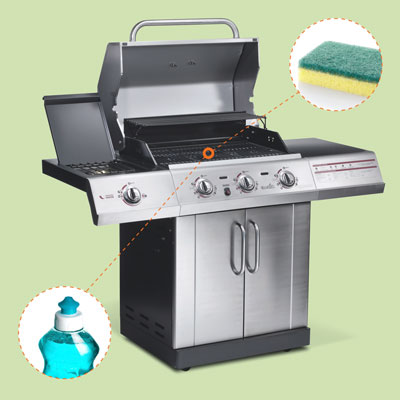 gas grill with inset of dish soap and scrubbing sponge
