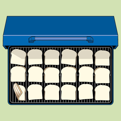 illustration of the heat pattern test using slices of white bread