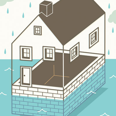 illustration of flooded basement 