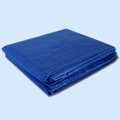 folded blue tarps