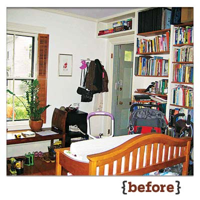 before image of home office before built-in bookshelves, powder room, and desk area were added