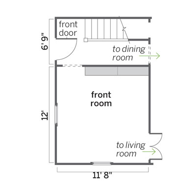 floorplan before this home office upgrade with desk area, built-in bookshelves, and powder room