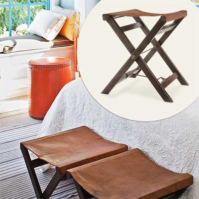 brown leather folding camp stool