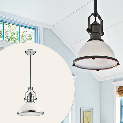 factory-inspired silver and white industrial pendant light fixture