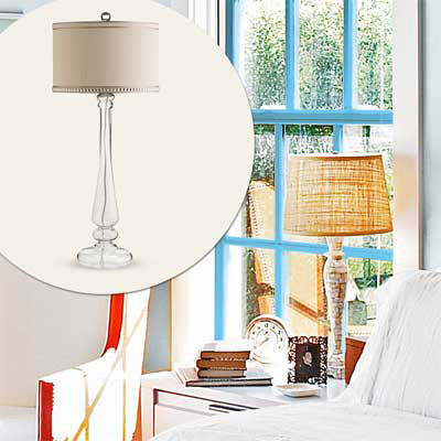 textured shade glass base table lamp
