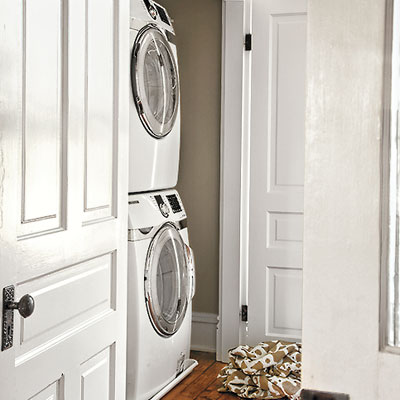 an upper floor laundry room