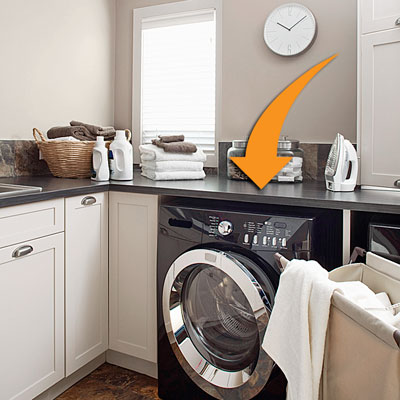 a black-colored washer under a custom black counter
