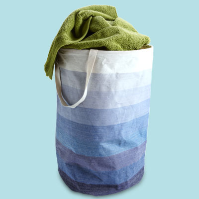 a canvas laundry basket