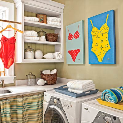 open shelving in a laundry room, red bathing suit hanging