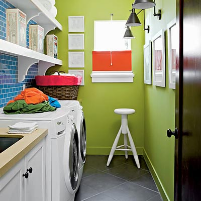 laundry room with green walls