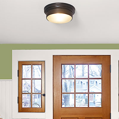 focus on overhead light in a laundry room