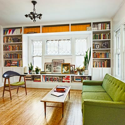 white living room with built-in bookcases