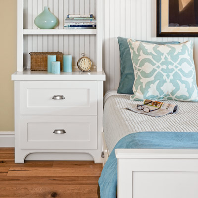 guest bedroom remodel with built-in nightstands