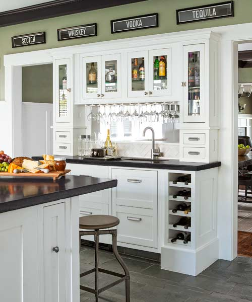 All access bar built ins that make entertaining easier for Built in drinks cabinet