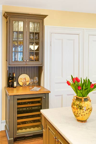hutch used as wet bar in kitchen