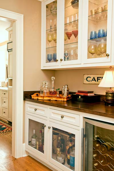built-in wet bar in house passageway