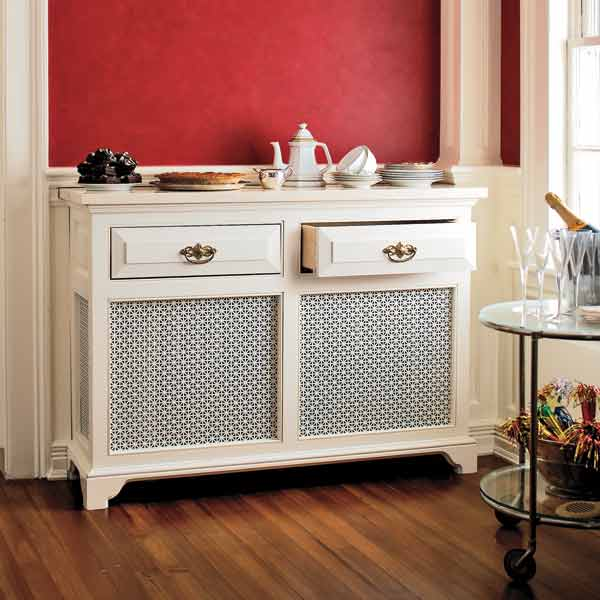 radiator cover used as a wet bar