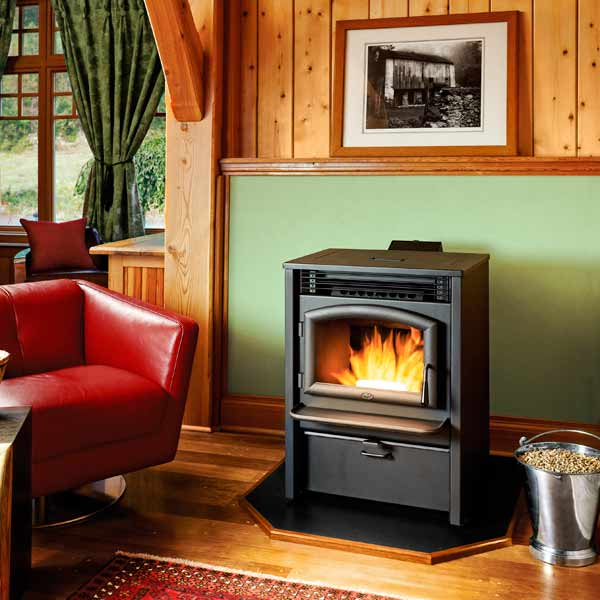 pellet stove warming a room