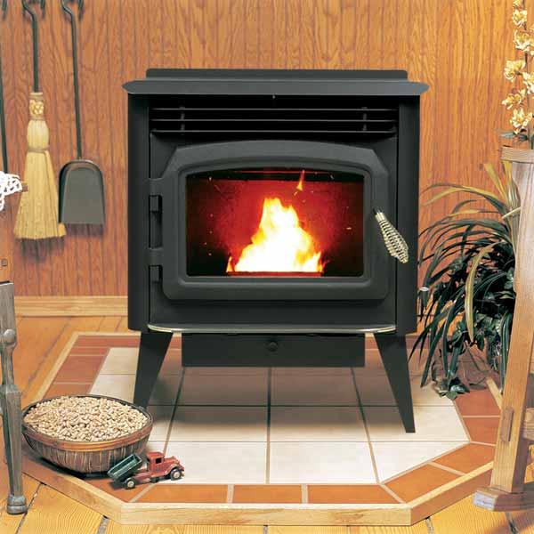 pellet stove with roaring fire