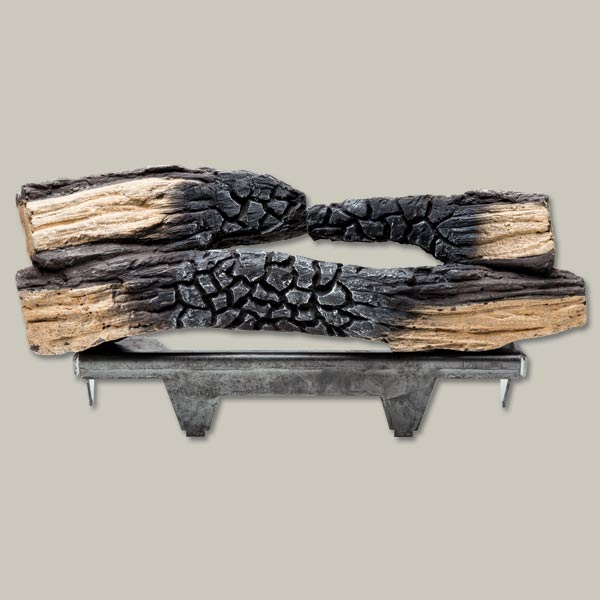faux log set for the look of wood-burning fire