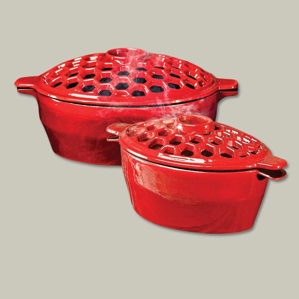 red cast iron steamer pots