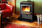 pellet stove heating room