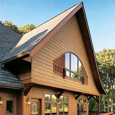 warm brown shingle finish giving the look of wood to  fiber cement siding