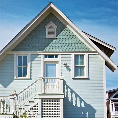 decorative fish-scale shaped fiber cement siding