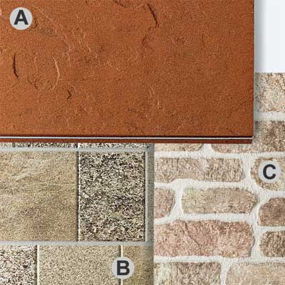 Stone, Brick, or Stucco types of fiber cement siding