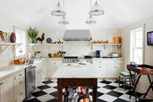 warm white ceramic subway tile in traditional kitchen
