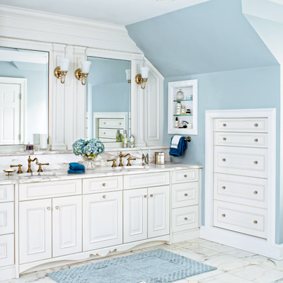 master bath with built-in dressers