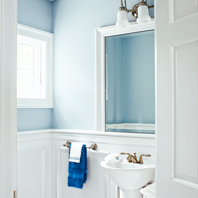 toilet closet with sink, mirror and wainscoting