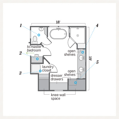 after floor plan of master bath remodel 