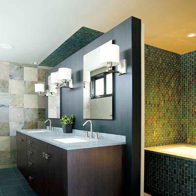 bath with green walls, floor tiles