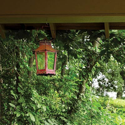 a candle lantern for a porch area