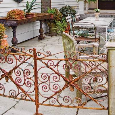 a patio with garden gate