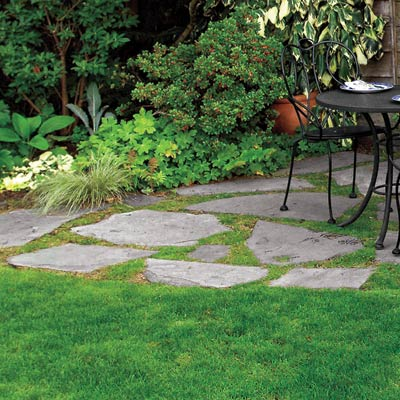 a patio with a flagstone floor