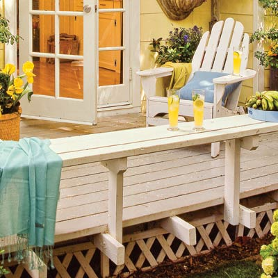 a deck with stained trim to match