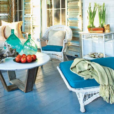a porch with cool blue color palate