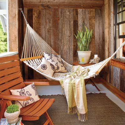 a porch with a hammock
